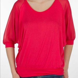 Buckle Red by BKE Dolman sleeve Pieced Top M